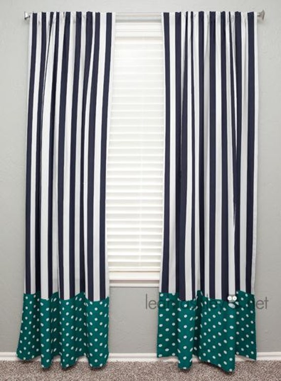 curtain panel with banding navy stripe teal by leahashleyokc