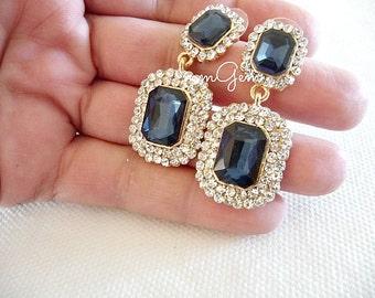 Crystal earrings, sapphire earrings, sapphire blue earrings, cobalt blue earrings, blue crystal earrings, blue earrings, sapphire crystal