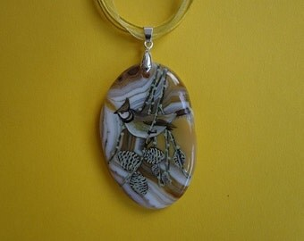 FREE SHIPPING Hand painted stone   Pendant  bird
