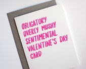 Valentine Card - Funny Valentine's Day Card - Letterpress Valentines Card - Obligatory Valentines Day Card