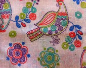 UNUSUAL Fabric Linen or Linen Blend Birds Flowers embossed Fabric Great Colors Blue Lime Green Purple Orange Birds Flowers 2 1/2 yards