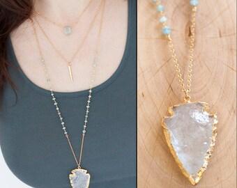 Arrowhead Necklace - Clear Quartz Crystal Arrowhead Necklace - Aquamarine Layering Necklace - Bohemian Necklace - Boho Hippie Chic Necklace