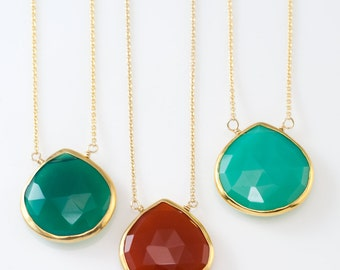 Green Onyx Gemstone Necklace - Gold Necklace - Layered Necklace - Layering Pendant - Gold Framed Stone - Simple Stone Pendant