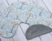 Boppy Pillow Cover- Personalized Boppy Cover- Light Blue Windy Day Print and Grey Minky Boppy Cover