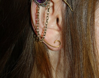 brass elven ear  - ear cuff - elvish earring - elf ear - PURPLE
