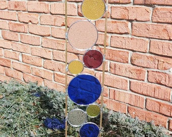 Stained glass garden art stake blue chartreuse grape outdoor yard decoration modern garden sculpture