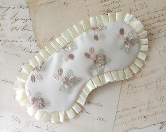 Floral Lace Sleep Mask in Cream, Sage, Taupe, Hunter Green // Romantic Gift for Her