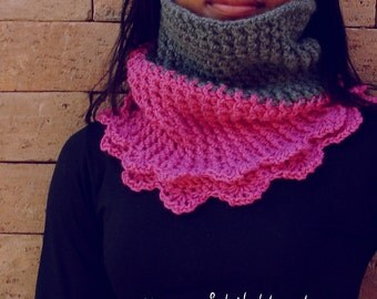 Circle Scarf Crochet Pattern PDF - Cloe cowl scarf - Instant DOWNLOAD