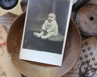 Antique french card photography little baby on a chair 1924 collection retro