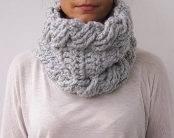 Crochet Pattern cable neckwarmer woman loop scarf cable crochet scarf woman cowl bulky scarf Instant download