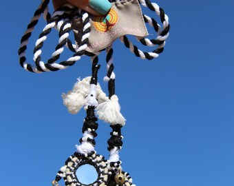 Camel Swag (Small): Black and White Mirrored, Bells, Camel Pom Pom, Tassel, Decoration, Boho, Gypsy Fashion Design, Decorating Supplies