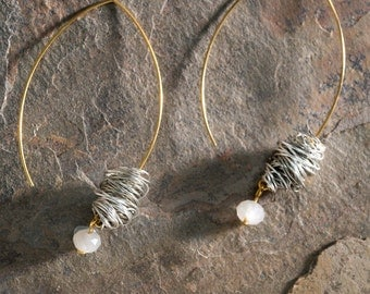 Gold Earrings with Silver Wrap and Crystal
