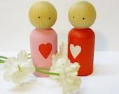 Valentine, Sweetheart Peg Dolls, Set of 2