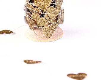 Glittery Gold Heart Paper Garland and Trim - 9 ft