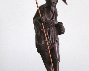 REDUCED Chinese figurine of an Old Chinese Man - Handcarved in wood -Very delicate sculpture - Asian Art Collector