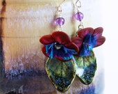 Scorched Earth ceramic, amethyst, polymer clay boho drop earrings in sterling silver