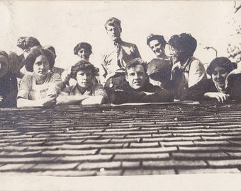 Rooftop Get-Together- 1910s Antique Photograph- Edwardian Friends Up on the Roof- Posing for Picture- Old Photo- Snapshot- Paper Ephemera