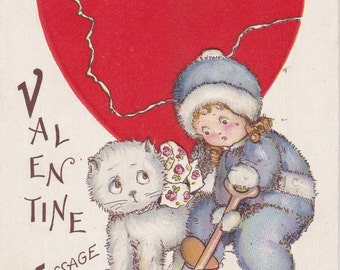 When Your Heart's Broke, Fluffs, You Jes' Got To Keep Workin'- 1920s Antique Postcard- Valentine Card- Broken Heart- Paper Ephemera- Used