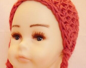 Pink Ear Flap Hat with Braids / Newborn Wool Hat / Baby Ear Flap Hat