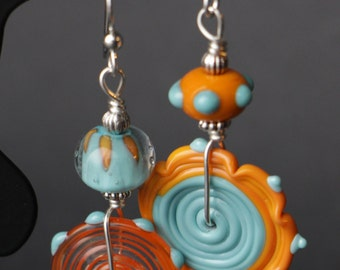 Asymmetrical Glass Lampworking Sterling Silver Earrings
