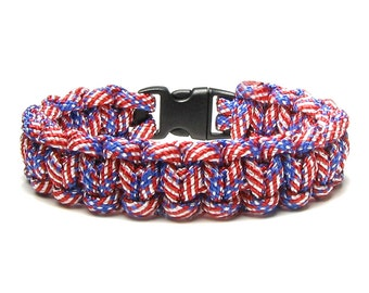 Summer Outdoors July 4th Paracord Bracelet Red White Blue American Flag Star Stripe Military Service Man Veteran Patriotic USA Gift For Dad