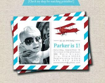 Vintage Airplane Invitation | Vintage Airplane Invite - red and aqua | Aviator Invitation | Aviator Invite | Airplane Party