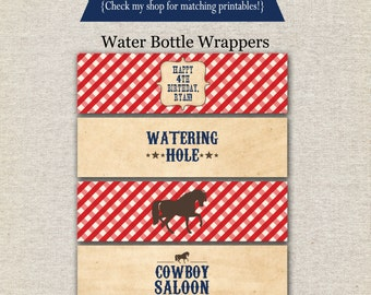 Cowboy Water Bottle Labels | Cowboy Water Bottle Wrappers | Cowboy Drink Labels | Cowboy Birthday Party | digital printable