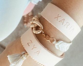 Custom, hand stamped leather bracelet
