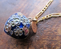 Vintage Cloisonne Double-sided Puff Heart Gold Filled Necklace with Monogrammed Personalized Hand-Stamped Bronze Tag