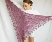 Heathered Purple Lace Triangle Shawl