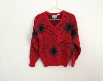 80s starburst / fireworks AVANT GARDE v neck sweater