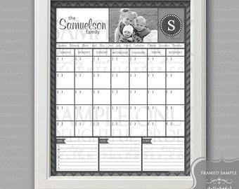 Digital Dry Erase Calendar  - 16x20 Custom Chevron Calendar - 16x20 JPEG Digital/Printable File  - You Choose Your Color - You Print