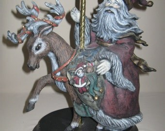Figurine Ceramic Carousel Santa Riding His Reindeer With Presents 1990's