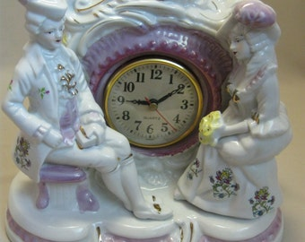 Victorian Mantel Clock  Figurines Loving Couple Flowers Pink Trim Gold Design Gold Trim