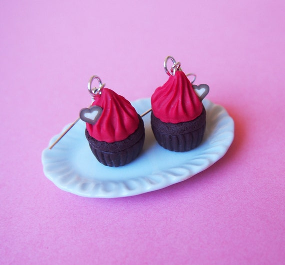 Chocolate Cupcake Red Earrings ( red cupcake valentine jewelry gift for her food miniature cupcake jewelry kawaii jewelry polymer clay )