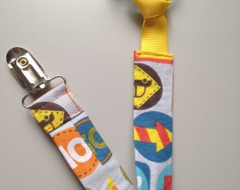 Pacifier clip- Boy, Road Signs, fabric pacifier clip