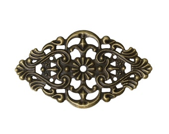 Filigree : 10 Antique Bronze Filigree Metal Jewelry Stampings | Brass Filigree Links -- Lead, Nickel & Cadmium Free 46079.T