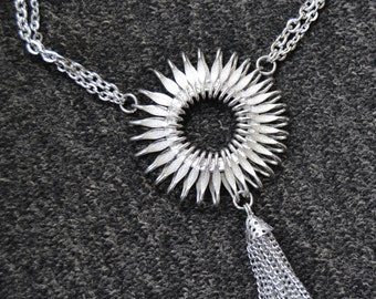 Vintage Silver Metal Necklace with Large Circular Charm and Tassels