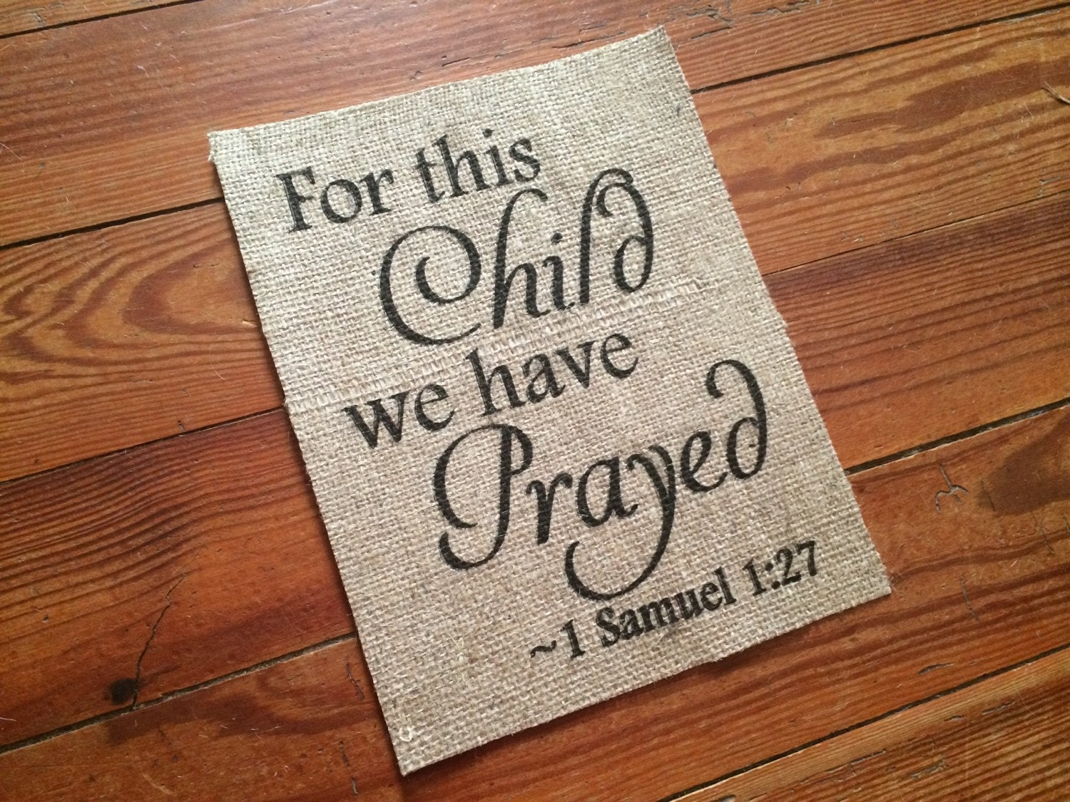 Burlap For This Child We Have Prayed Nursery