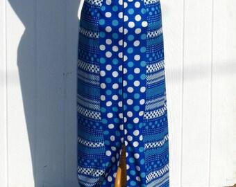 Vintage 60s Maxi Skirt / Mod Skirt / Blue Skirt / Geometric / 1960s Skirt / Polyester Skirt / Retro Skirt / Blue and White Polka Dot