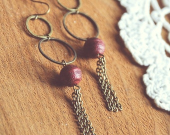 boho marsala dangle earrings.