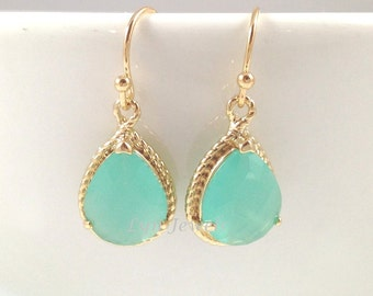 Mint Opal Earrings - Gold Trim Pale Green Bridesmaids Earrings Teardrop Pear Christmas Gift Under 25