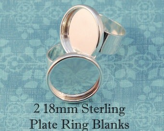 Ring Bezels - TWO 18mm Round - Sterling Plated Ring Bezel Blanks