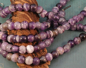Amethyst - LARGE HOLE beads -12mm Smooth Rounds - 8 Inch Strand - 4mm Hole