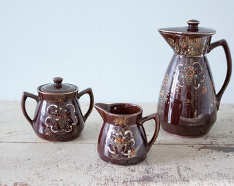 Beautiful Japan Tea Set - Brown Glazed Pottery with Hand Painted Flowers