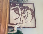 Santa Sign - Santa Claus is coming to town - 24x24 - hand painted wood sign in your choice of color