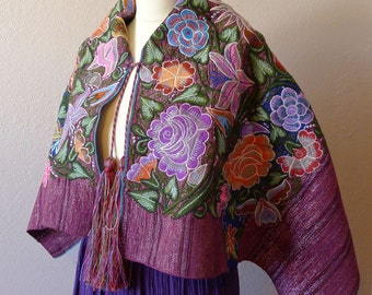 Mayan Mexican embroidered Vintage capes shawl  - Deep Purple Metallic Floral Frida Kahlo Style 14#D