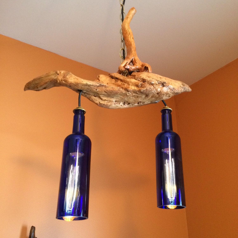 Riesling Cobalt Blue Wine Bottles Driftwood Chandelier – Driftwood Chandelier