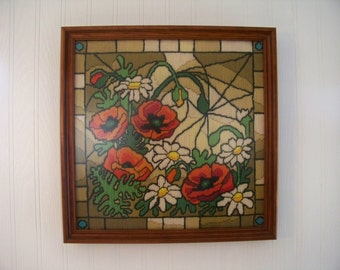 Framed Embroidery Poppies and Daisies