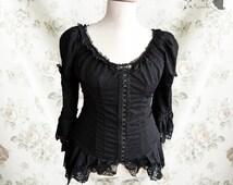 Blouse black, Victorian, romantic goth, Steampunk noir, Frances, Somnia Romantica, size extra large see item details for measurements